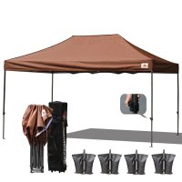 AbcCanopy 3MX4.5M Deluxe Brown Pop Up Canopy With Roller Bag