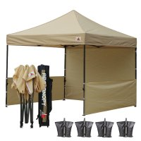 AbcCanopy 3MX3M Deluxe Beige Pop Up Canopy Trade Show Both
