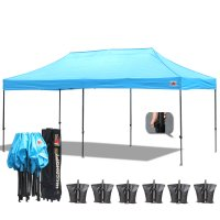 AbcCanopy 3MX6M Deluxe Sky Blue Pop Up Canopy With Roller Bag