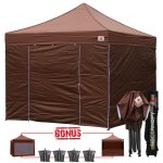 Borwn 3m x 3m Pop Up Canopy Folding Gazebo W/6 SideWalls