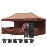 AbcCanopy 3MX6M Deluxe Brown Pop Up Canopy Trade Show Both