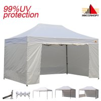 AbcCanopy 3MX4.5M Deluxe White Pop Up Canopy Trade Show Both