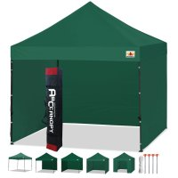 3 x 3m Enclosed Pop up Canopy Commercial Shelter Backyard Gazebo(Forest Green)