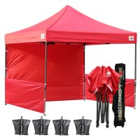 AbcCanopy 3MX3M Deluxe Red Pop Up Canopy Trade Show Both