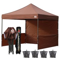 AbcCanopy 3MX3M Deluxe Brown Pop Up Canopy Trade Show Both