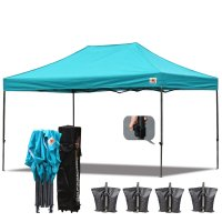 AbcCanopy 3MX4.5M Deluxe Turquoise Pop Up Canopy With Roller Bag