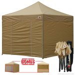 Beige 3m x 3m Pop Up Canopy Folding Gazebo W/6 SideWalls