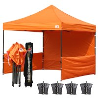 AbcCanopy 3MX3M Deluxe Orange Pop Up Canopy Trade Show Both