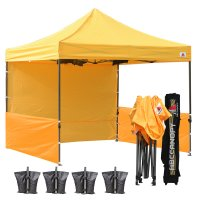AbcCanopy 3MX3M Deluxe Gold Pop Up Canopy Trade Show Both