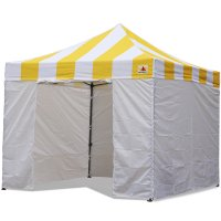 AbcCanopy Carnival Canopy 3x3 Yellow With White Walls Ez Part Tent Bouns 6 Walls