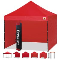 3 x 3m Enclosed Pop up Canopy Commercial Shelter Backyard Gazebo(Red)
