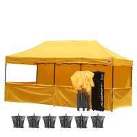 AbcCanopy 3MX6M Deluxe Gold Pop Up Canopy Trade Show Both