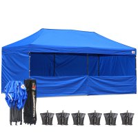 AbcCanopy 3MX6M Deluxe Royal Blue Pop Up Canopy Trade Show Both