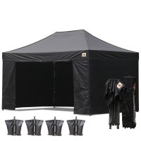 Black 3m x 4.5m Pop Up Canopy Folding Gazebo W/6 SideWalls