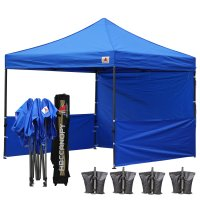 AbcCanopy 3MX3M Deluxe Royal Blue Pop Up Canopy Trade Show Both