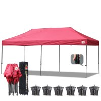 AbcCanopy 3MX6M Deluxe Burgundy Pop Up Canopy With Roller Bag