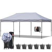 AbcCanopy 3MX6M Deluxe Gray Pop Up Canopy With Roller Bag