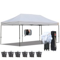 AbcCanopy 3MX6M Deluxe White Pop Up Canopy With Roller Bag