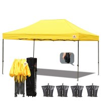 AbcCanopy 3X4.5 Deluxe Yellow Pop Up Canopy With Roller Bag