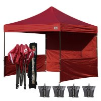 AbcCanopy 3MX3M Deluxe Burgundy Pop Up Canopy Trade Show Both