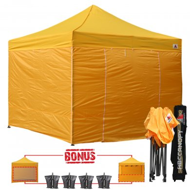Gold 3m x 3m Pop Up Canopy Folding Gazebo W/6 SideWalls