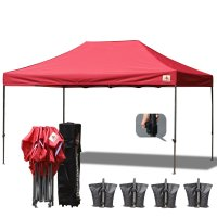 AbcCanopy 3MX4.5M Deluxe Burgundy Pop Up Canopy With Roller Bag