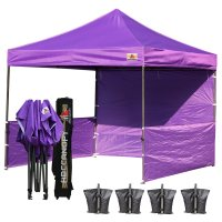 AbcCanopy 3MX3M Deluxe Purple Pop Up Canopy Trade Show Both
