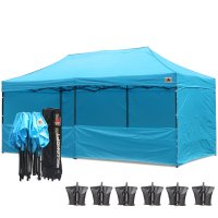 AbcCanopy 3MX6M Deluxe Sky Blue Pop Up Canopy Trade Show Both