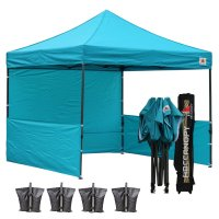 AbcCanopy 3MX3M Deluxe Turquoise Pop Up Canopy Trade Show Both