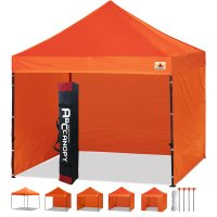 3 x 3m Enclosed Pop up Canopy Commercial Shelter Backyard Gazebo(orange)