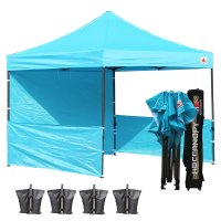 AbcCanopy 3MX3M Deluxe Sky Blue Pop Up Canopy Trade Show Both
