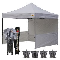 AbcCanopy 3MX3M Deluxe Gray Pop Up Canopy Trade Show Both