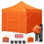 Orange 3m x 3m Pop Up Canopy Folding Gazebo W/6 SideWalls