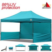 AbcCanopy 3MX4.5M Deluxe Turquoise Pop Up Canopy Trade Show Both