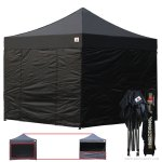 Black 3m x 3m Pop Up Canopy Folding Gazebo W/6 SideWalls