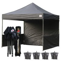 AbcCanopy 3MX3M Deluxe Black Pop Up Canopy Trade Show Both