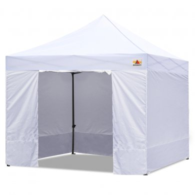 White 3m x 3m Pop Up Canopy Folding Gazebo W/6 SideWalls