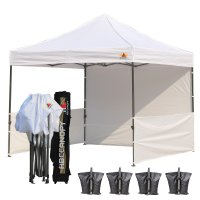 AbcCanopy 3MX3M Deluxe White Pop Up Canopy Trade Show Both