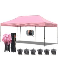 AbcCanopy 3MX6M Deluxe Pink Pop Up Canopy With Roller Bag