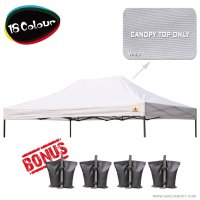 AbcCanopy 3MX4.5M Pop Up Canopy Replacement Top 100% waterproof - Come with 4 Weight Bag