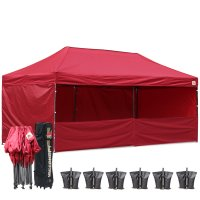 AbcCanopy 3MX6M Deluxe Burgundy Pop Up Canopy Trade Show Both