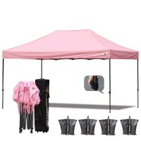 AbcCanopy 3MX4.5M Deluxe Pink Pop Up Canopy With Roller Bag