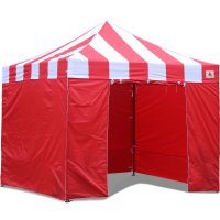 AbcCanopy Carnival Canopy 10x10 Red With Red Walls Ez Part Tent Bouns 6 Walls