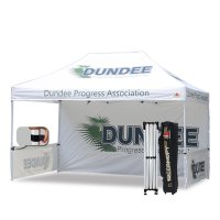AbcCanopy 3MX4.5M Pop up Canopy Printed Custom Tent Booth with Backwall and Wheeled Bag
