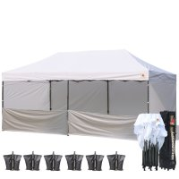 AbcCanopy 3M X 6M Deluxe White Pop Up Canopy Trade Show Both