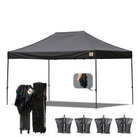 AbcCanopy 3MX4.5M Deluxe Black Pop Up Canopy With Roller Bag