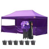 AbcCanopy 3MX6M Deluxe Purple Pop Up Canopy Trade Show Both