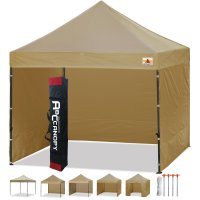 3 x 3m Enclosed Pop up Canopy Commercial Shelter Backyard Gazebo(Beige)