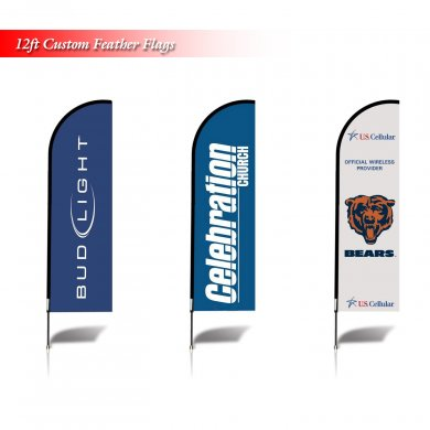 12\' Full Color Custom Tall Swooper Advertising Flag Feather Banner