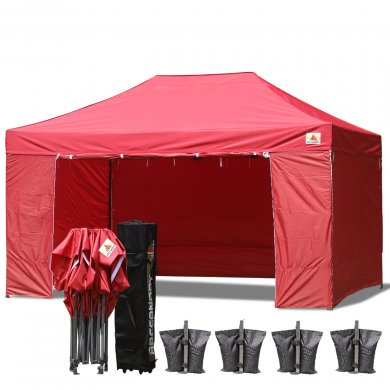 AbcCanopy 3MX4.5M Deluxe Burgundy Package Tent With Roller Bag